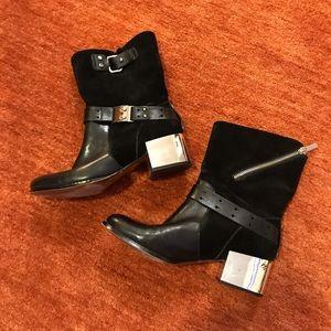 Shoes - Metallic Heel Ankle Boots
